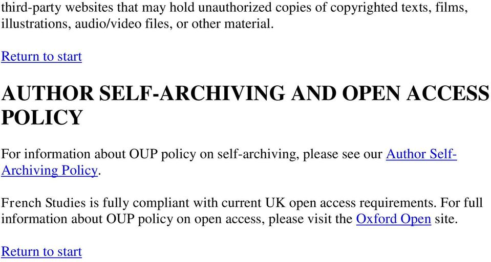 AUTHOR SELF-ARCHIVING AND OPEN ACCESS POLICY For information about OUP policy on self-archiving, please see