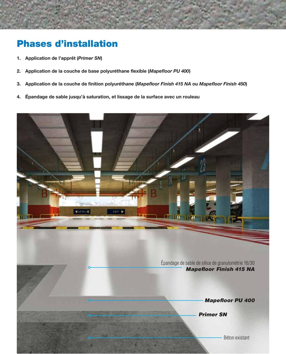 Application de la couche de finition polyuréthane (Mapefloor Finish 415 NA ou Mapefloor Finish 450) 4.