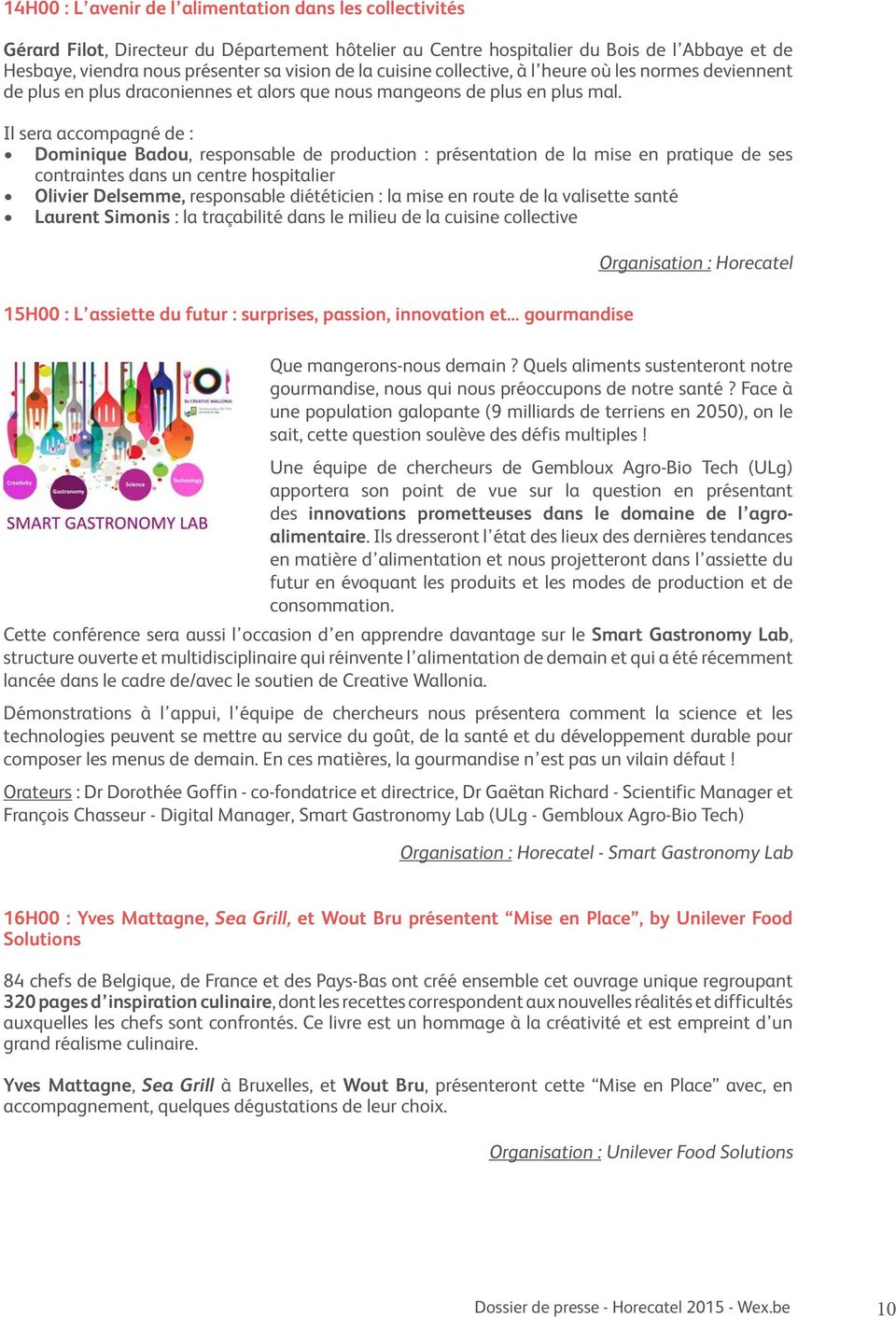 Sommaire introduction horecatel 2015 et ses exposants for Responsable de cuisine collective
