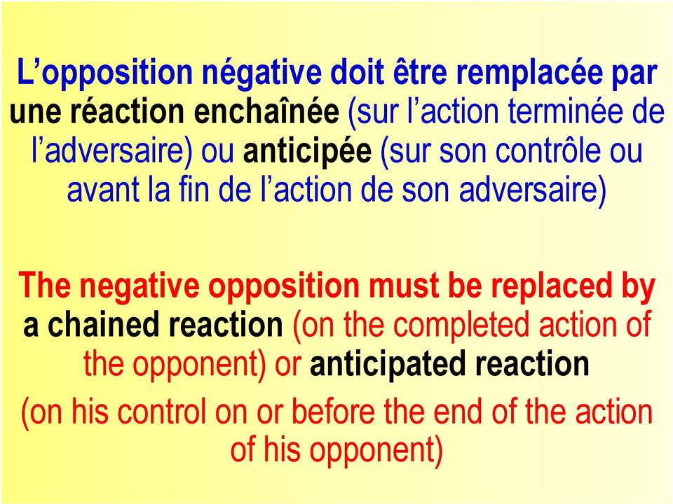 negative opposition must be replaced by a chained reaction (on the completed action of the