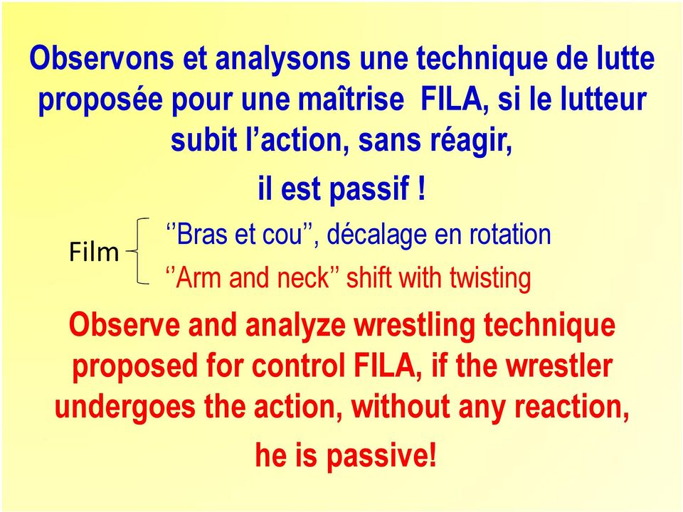 Bras et cou, décalage en rotation Arm and neck shift with twisting Observe and analyze
