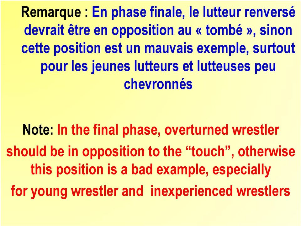 chevronnés Note: In the final phase, overturned wrestler should be in opposition to the