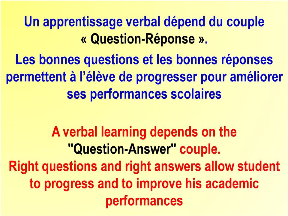 améliorer ses performances scolaires A verbal learning depends on the