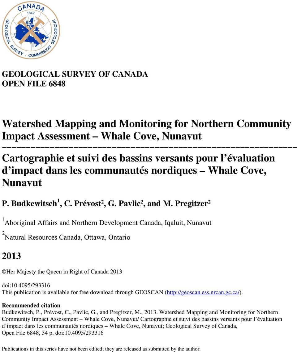 Pregitzer 2 1 Aboriginal Affairs and Northern Development Canada, Iqaluit, Nunavut 2 Natural Resources Canada, Ottawa, Ontario 2013 Her Majesty the Queen in Right of Canada 2013 doi:10.
