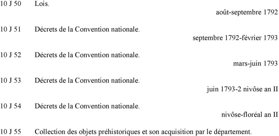 10 J 54 Décrets de la Convention nationale.