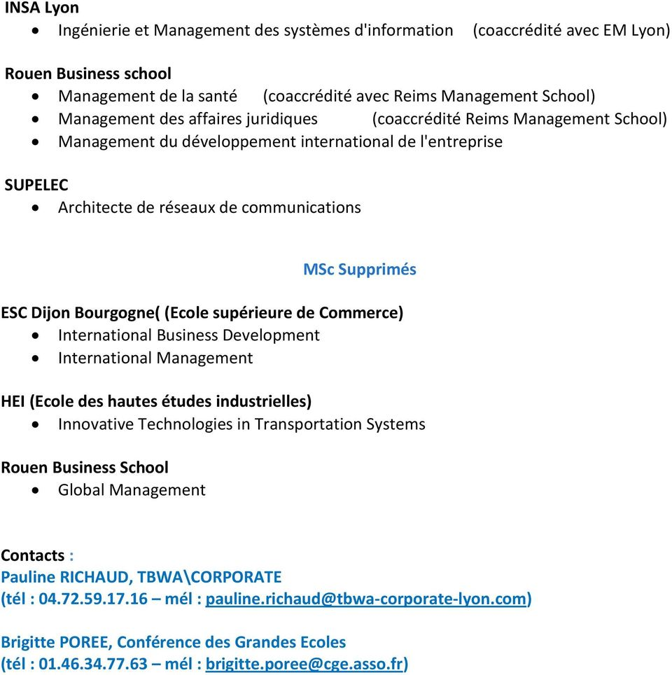 (Ecole supérieure de Commerce) International Business Development International Management HEI (Ecole des hautes études industrielles) Innovative Technologies in Transportation Systems Rouen Business