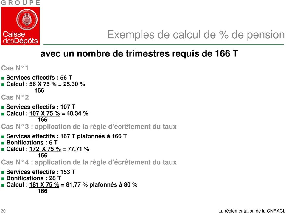 77,71 % 166 Cas N 4 : application de la règle d écrêtement du t aux Services effectifs : 153 T Bonifications : 28 T Calcul : 181 X 75 % =