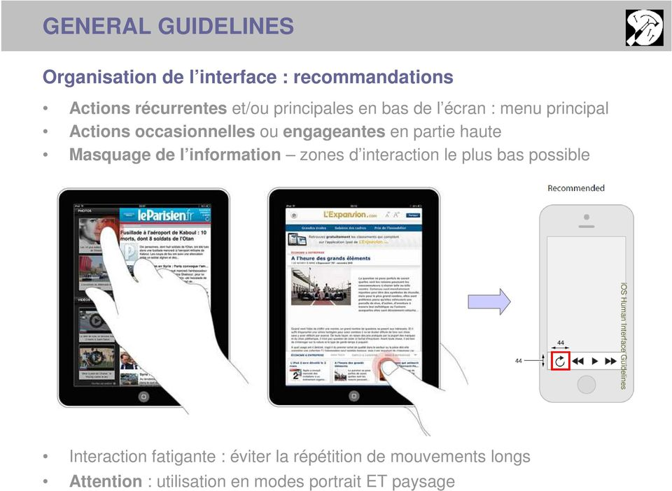 Masquage de l information zones d interaction le plus bas possible ios Human Interface Guidelines