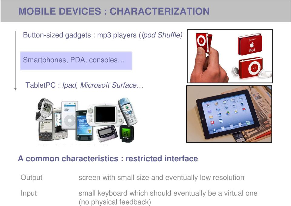 characteristics : restricted interface Output Input screen with small size and