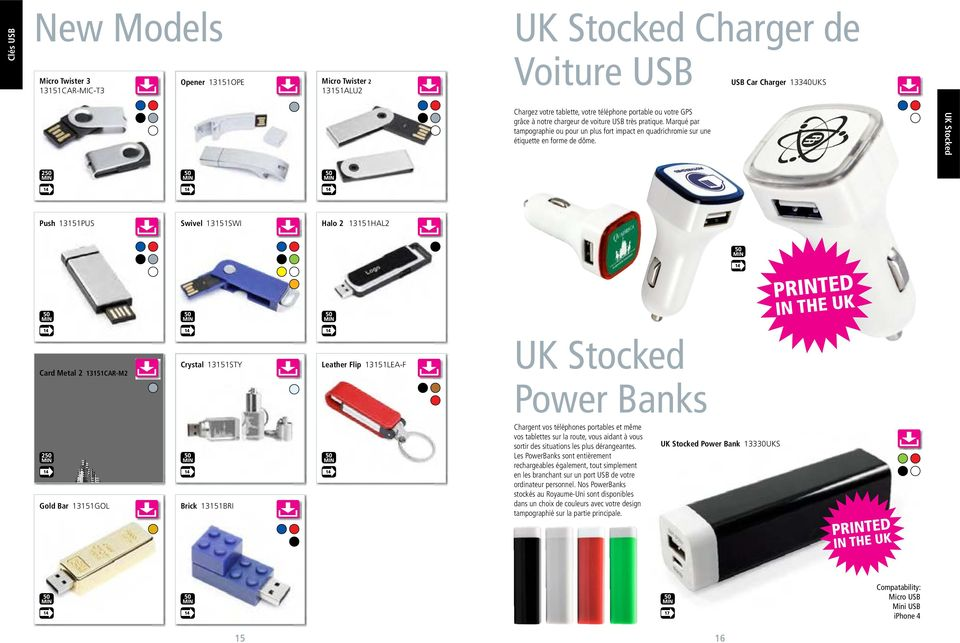 UK Stocked Push 13151PUS Swivel 13151SWI Halo 2 13151HAL2 Card Metal 2 13151CAR-M2 Crystal 13151STY Leather Flip 13151LEA-F UK Stocked Power Banks Gold Bar 13151GOL Brick 13151BRI Chargent vos
