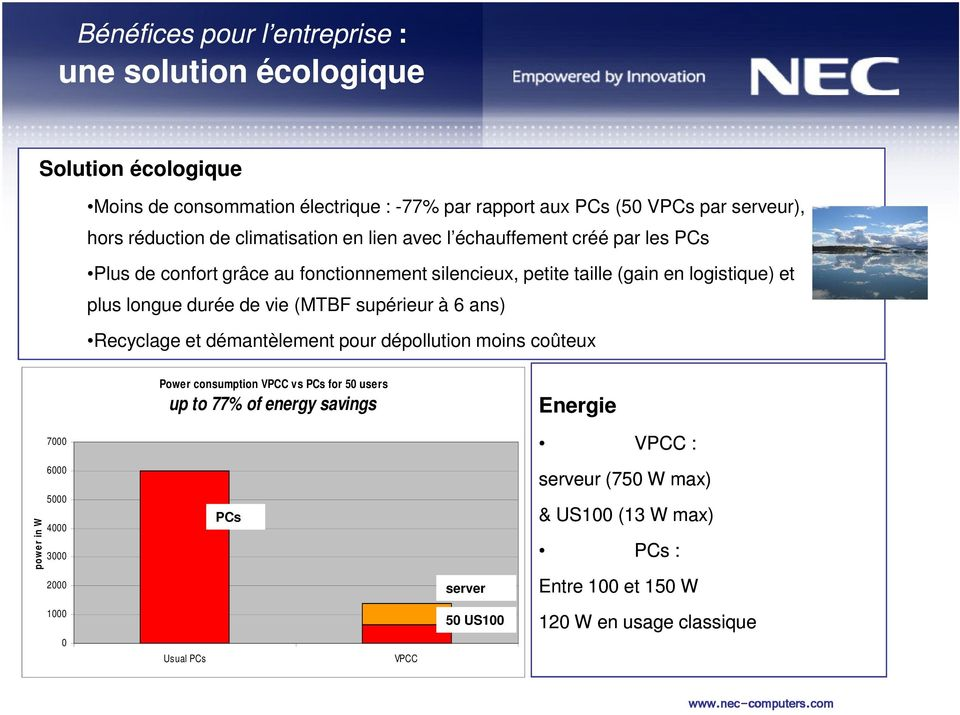 (MTBF supérieur à 6 ans) Recyclage et démantèlement pour dépollution moins coûteux Power consumption VPCC vs PCs for 50 users up to 77% of energy savings Energie 7000 VPCC :
