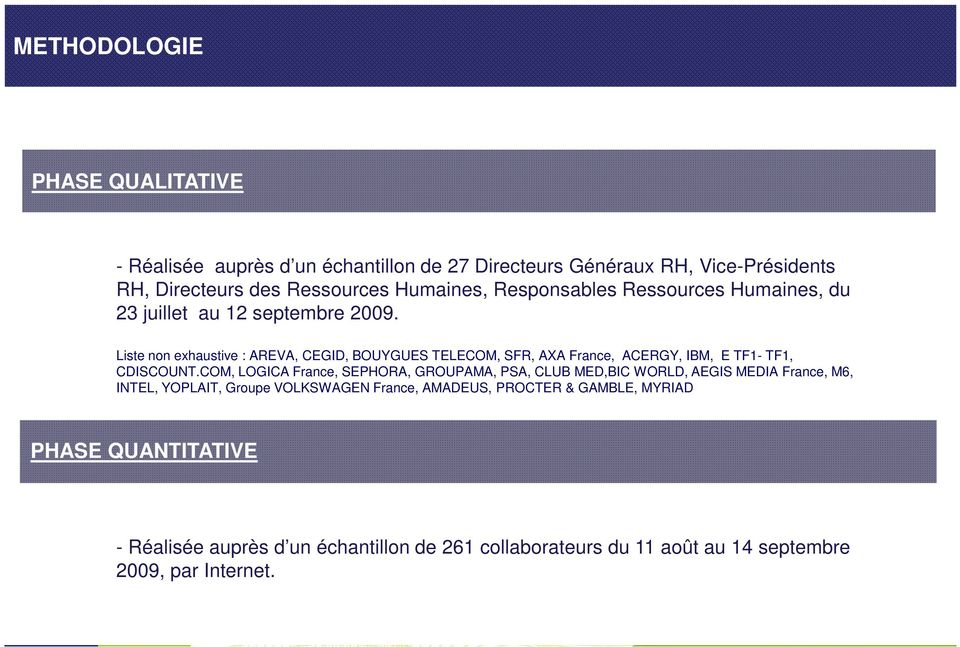 Liste non exhaustive : AREVA, CEGID, BOUYGUES TELECOM, SFR, AXA France, ACERGY, IBM, E TF1- TF1, CDISCOUNT.
