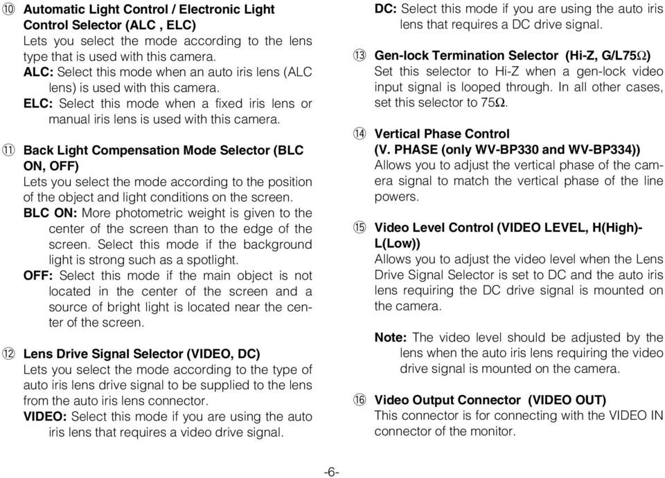!1 Back Light Compensation Mode Selector (BLC ON, OFF) Lets you select the mode according to the position of the object and light conditions on the screen.