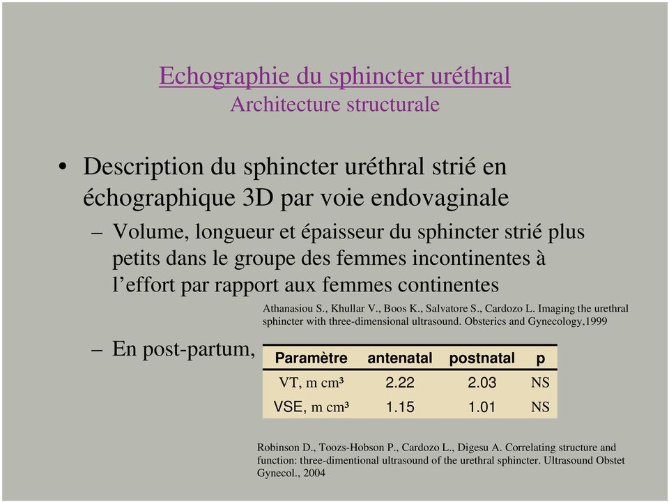 , Cardozo L. Imaging the urethral sphincter with three-dimensional ultrasound. Obsterics and Gynecology,1999 Paramètre antenatal postnatal p VT, m cm³ 2.22 2.03 NS VSE, m cm³ 1.