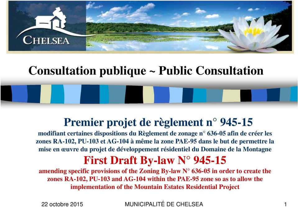 Domaine de la Montagne First Draft By-law N 945-15 amending specific provisions of the Zoning By-law N 636-05 in order to create the zones RA-102,