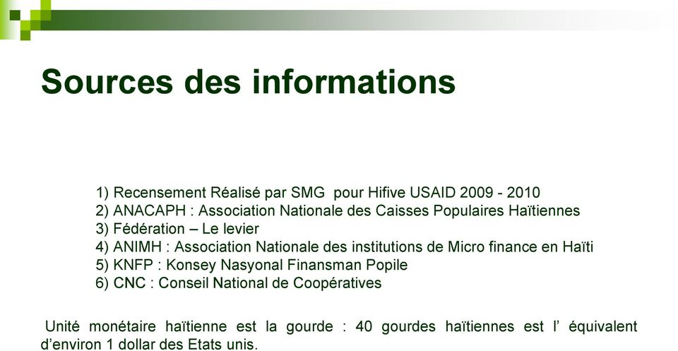 institutions de Micro finance en Haïti 5) KNFP : Konsey Nasyonal Finansman Popile 6) CNC : Conseil National de