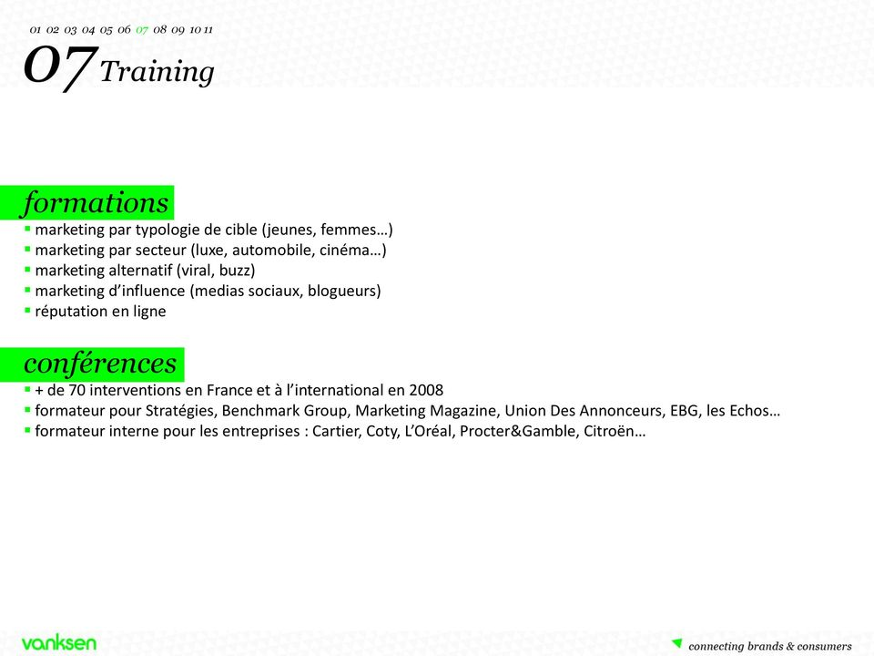 de 70 interventions en France et à l international en 2008 formateur pour Stratégies, Benchmark Group, Marketing Magazine,