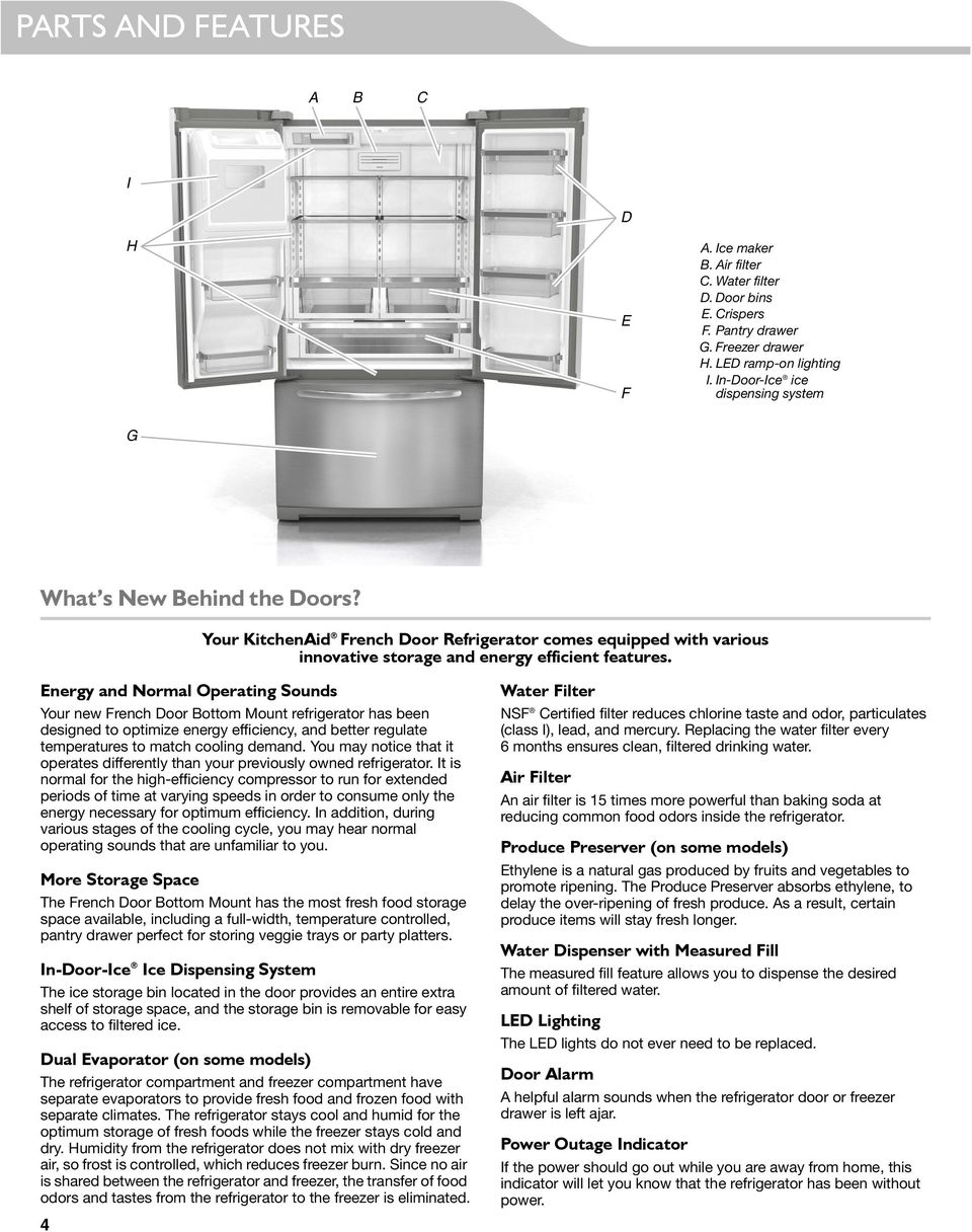 Energy and Normal Operating Sounds Your new French Door Bottom Mount refrigerator has been designed to optimize energy efficiency, and better regulate temperatures to match cooling demand.