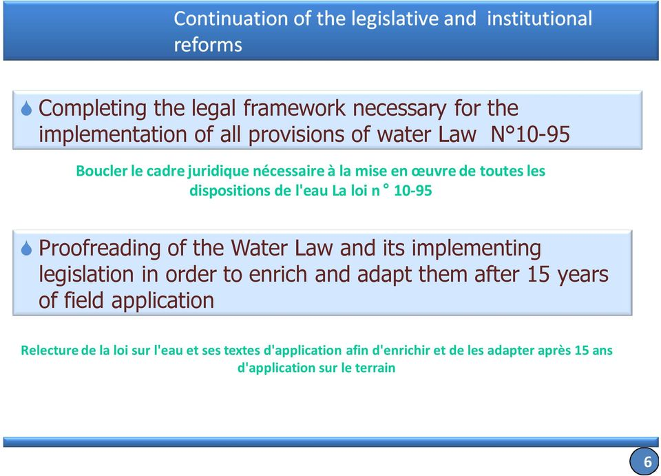 Law and its implementing legislation in order to enrich and adapt them after 15 years of field application Relecture de