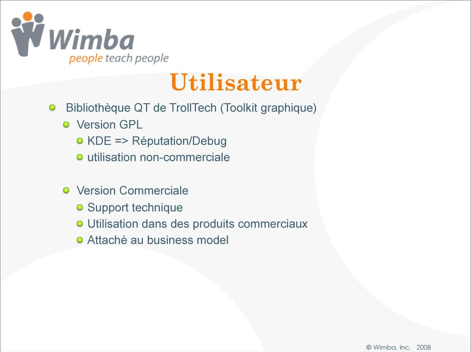 utilisation non-commerciale Version Commerciale Support