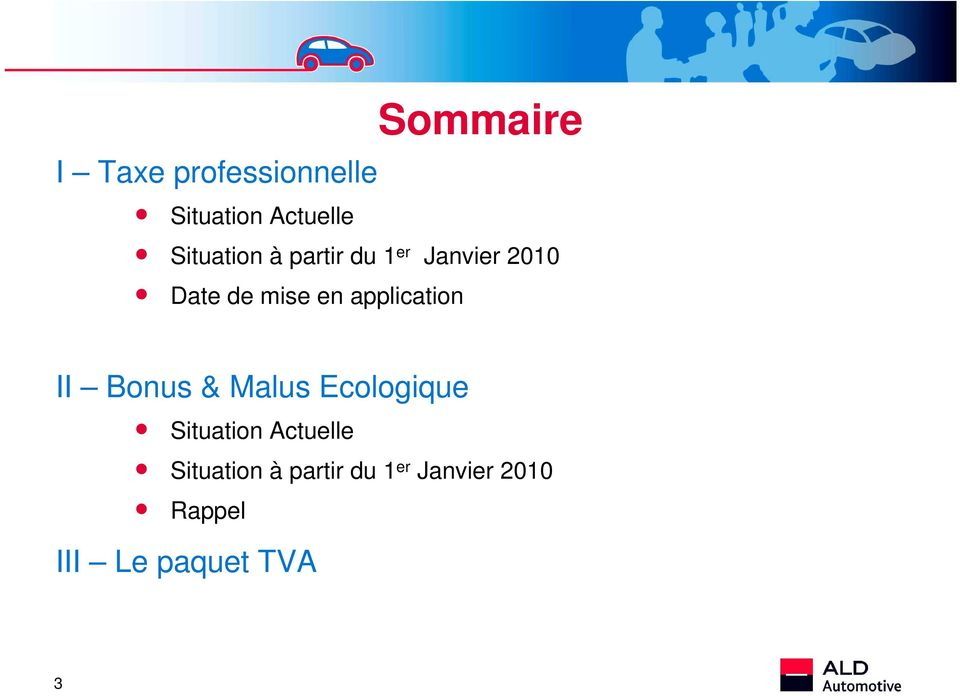 application II Bonus & Malus Ecologique Situation