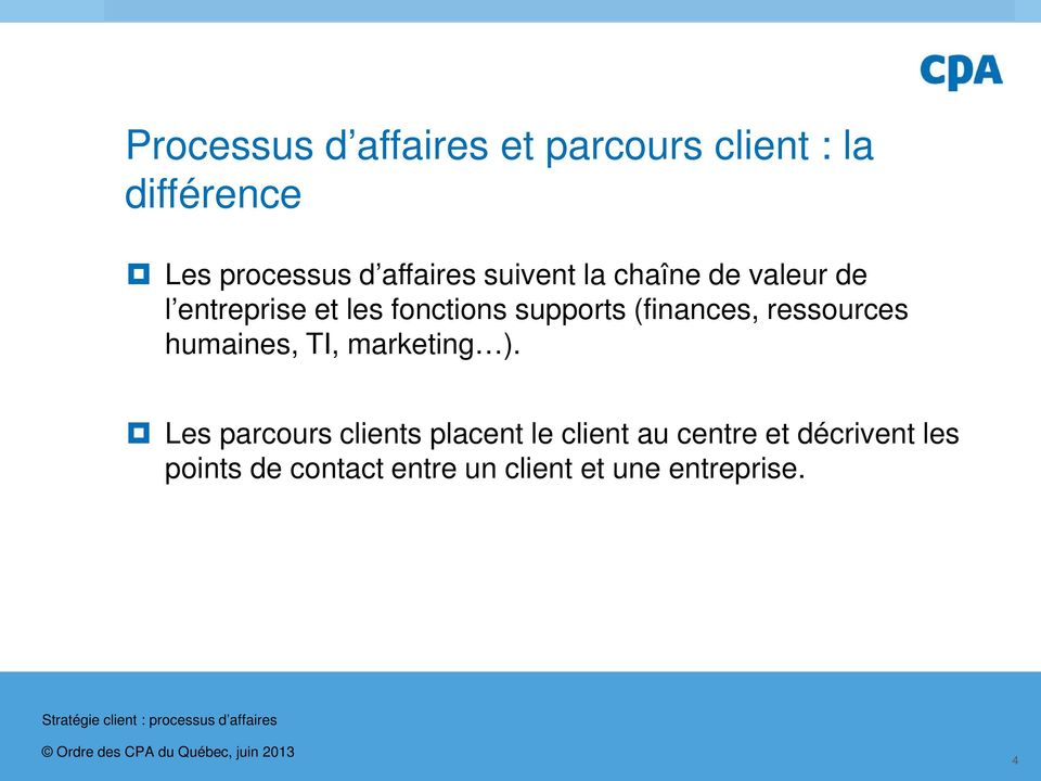(finances, ressources humaines, TI, marketing ).