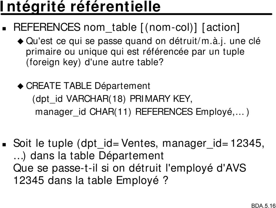 CREATE TABLE Département (dpt_id VARCHAR(18) PRIMARY KEY, manager_id CHAR(11) REFERENCES Employé, ) Soit le tuple
