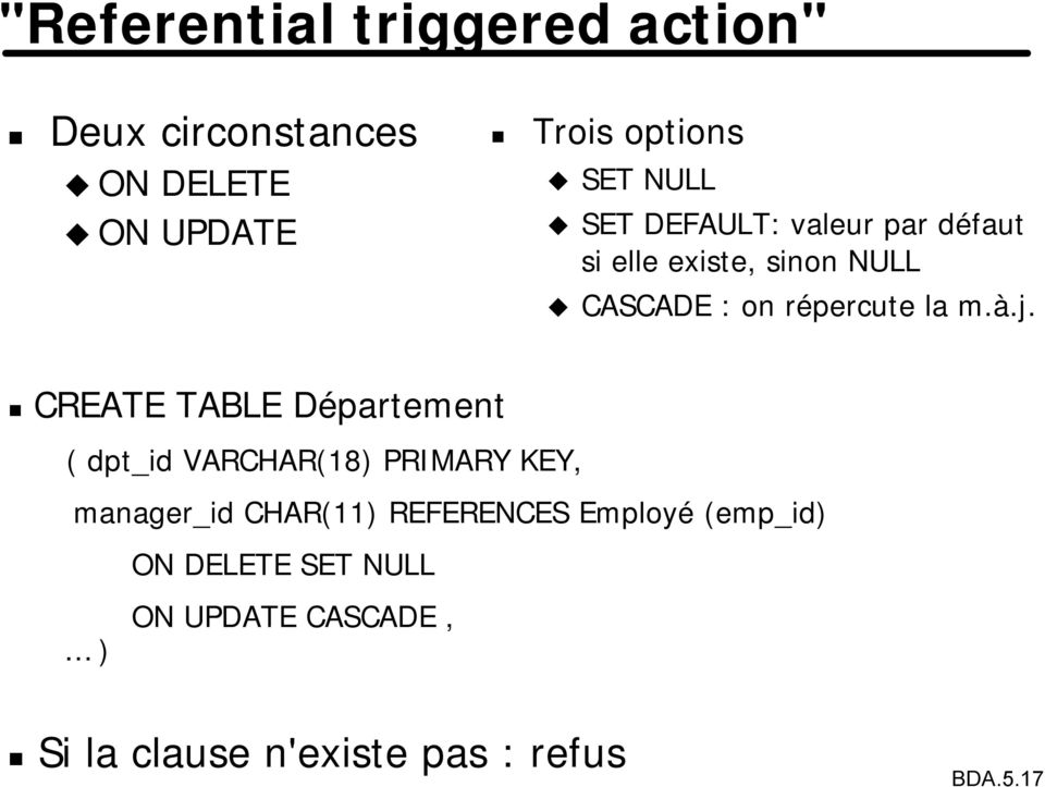 CREATE TABLE Département ( dpt_id VARCHAR(18) PRIMARY KEY, manager_id CHAR(11) REFERENCES