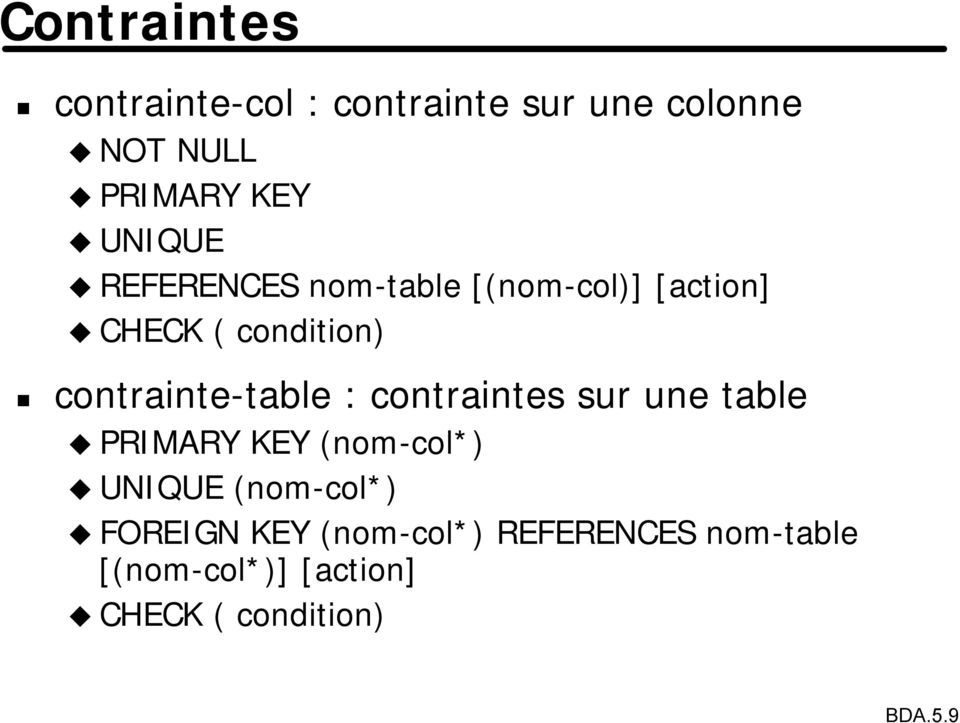 contrainte-table : contraintes sur une table PRIMARY KEY (nom-col*) UNIQUE
