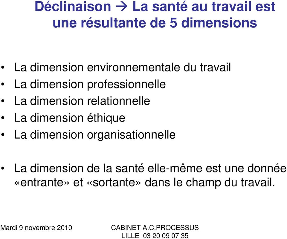 dimension relationnelle La dimension éthique La dimension organisationnelle La