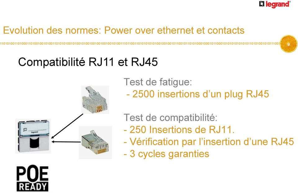 insertions d un plug RJ45 Test de compatibilité: - 250