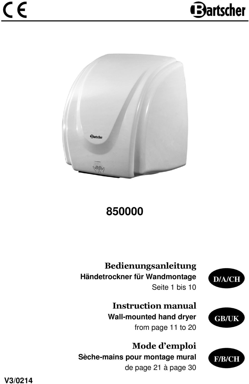 Wall-mounted hand dryer from page 11 to 20 Mode d emploi