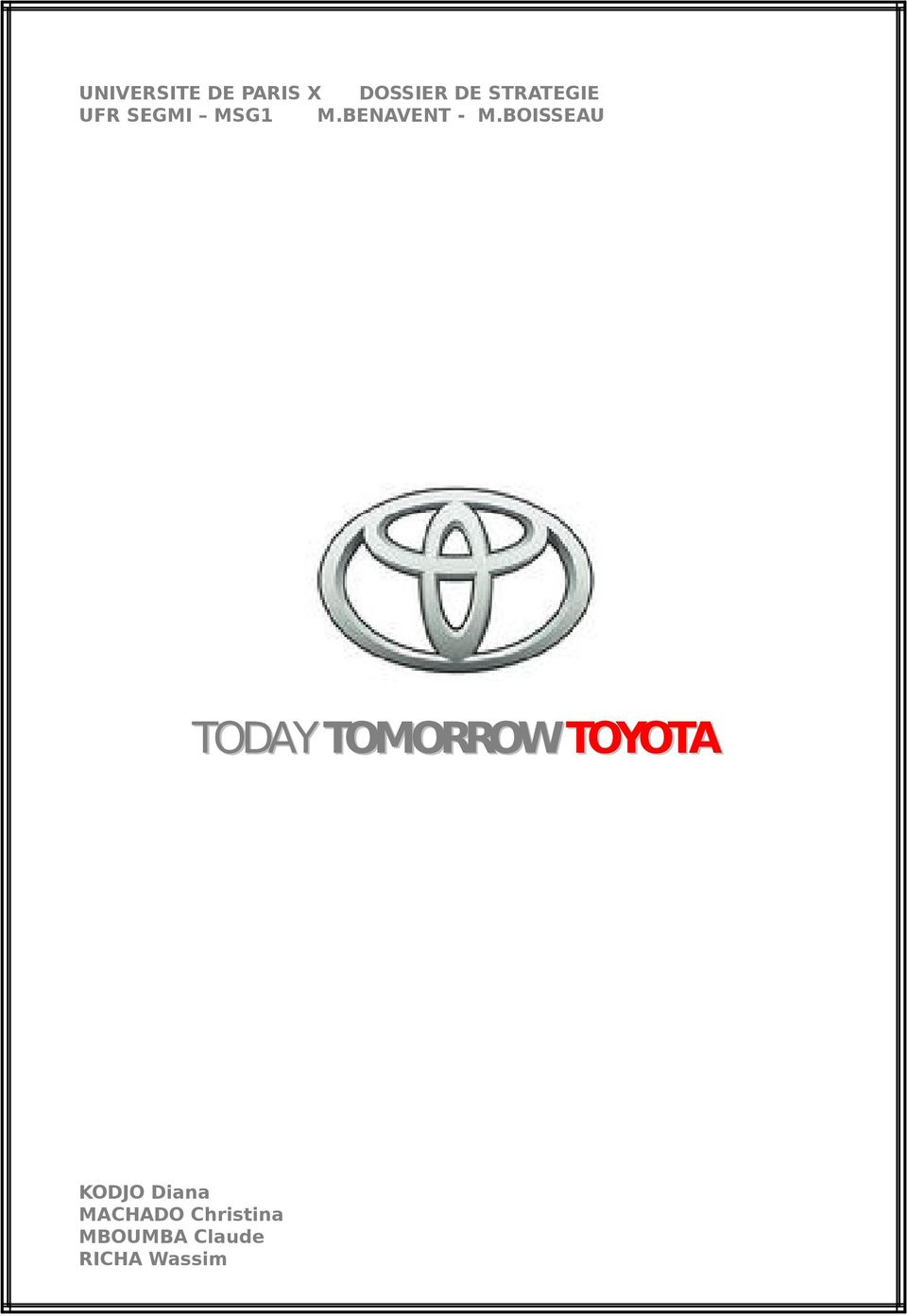 BOISSEAU TODAY TOMORROW TOYOTA KODJO