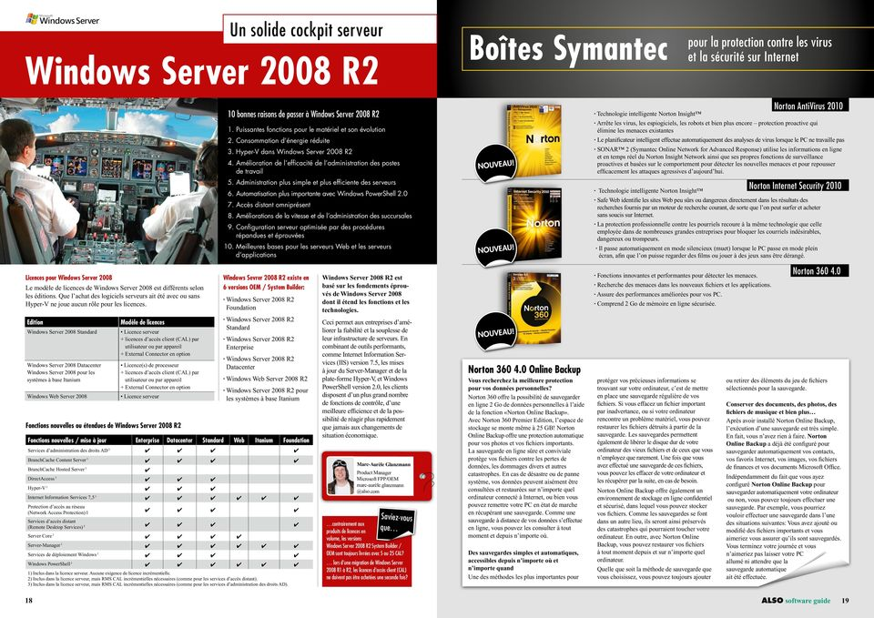 Edition Windows Server 2008 Standard Windows Server 2008 Datacenter Windows Server 2008 pour les systèmes à base Itanium Windows Web Server 2008 10 bonnes raisons de passer à Windows Server 2008 R2 1.