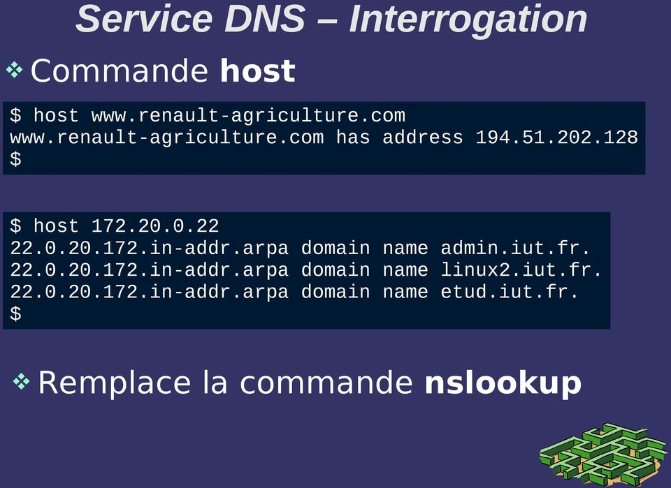 arpa domain name admin.iut.fr. 22.0.20.172.in-addr.arpa domain name linux2.iut.fr. 22.0.20.172.in-addr.arpa domain name etud.