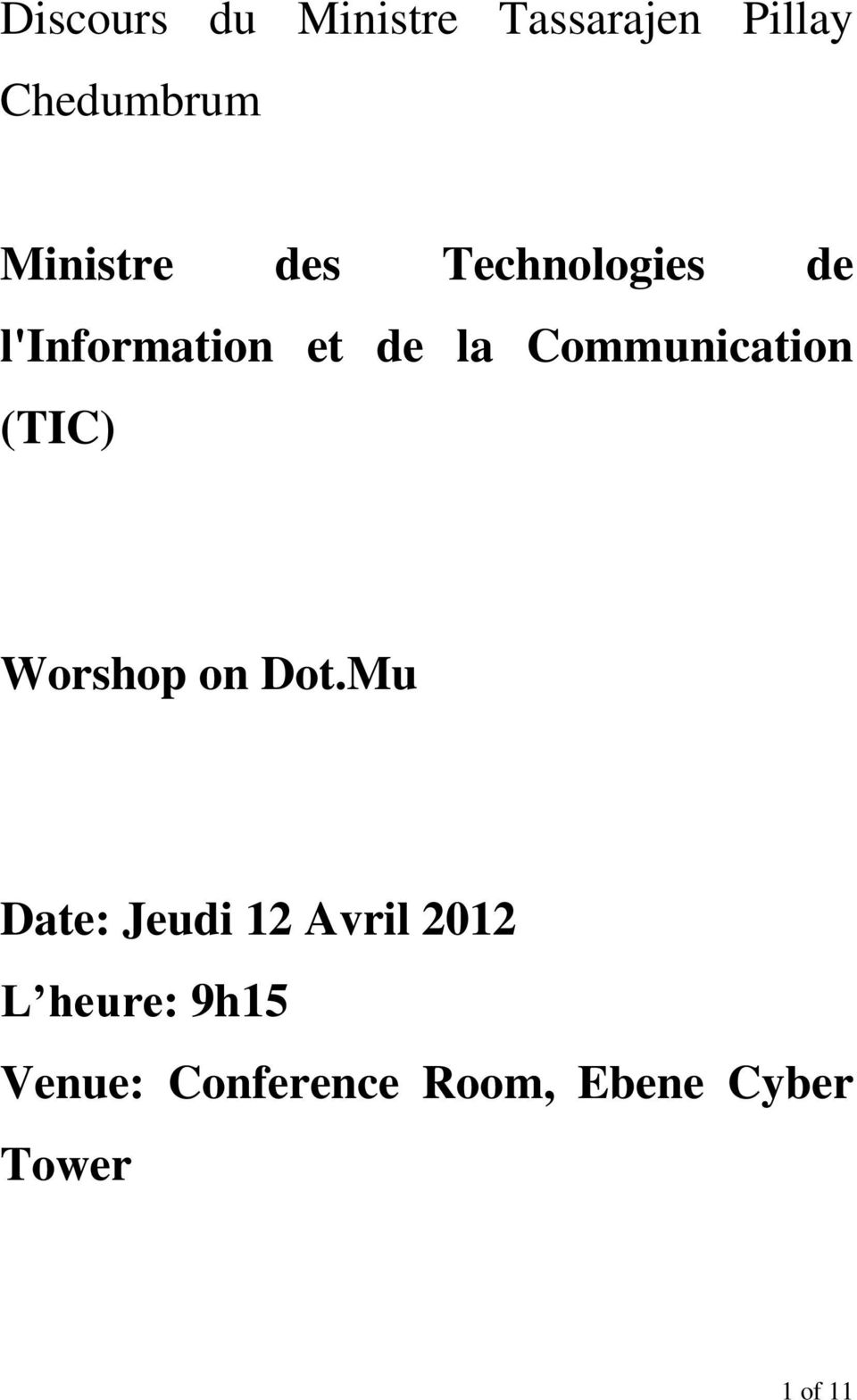 Communication (TIC) Worshop on Dot.