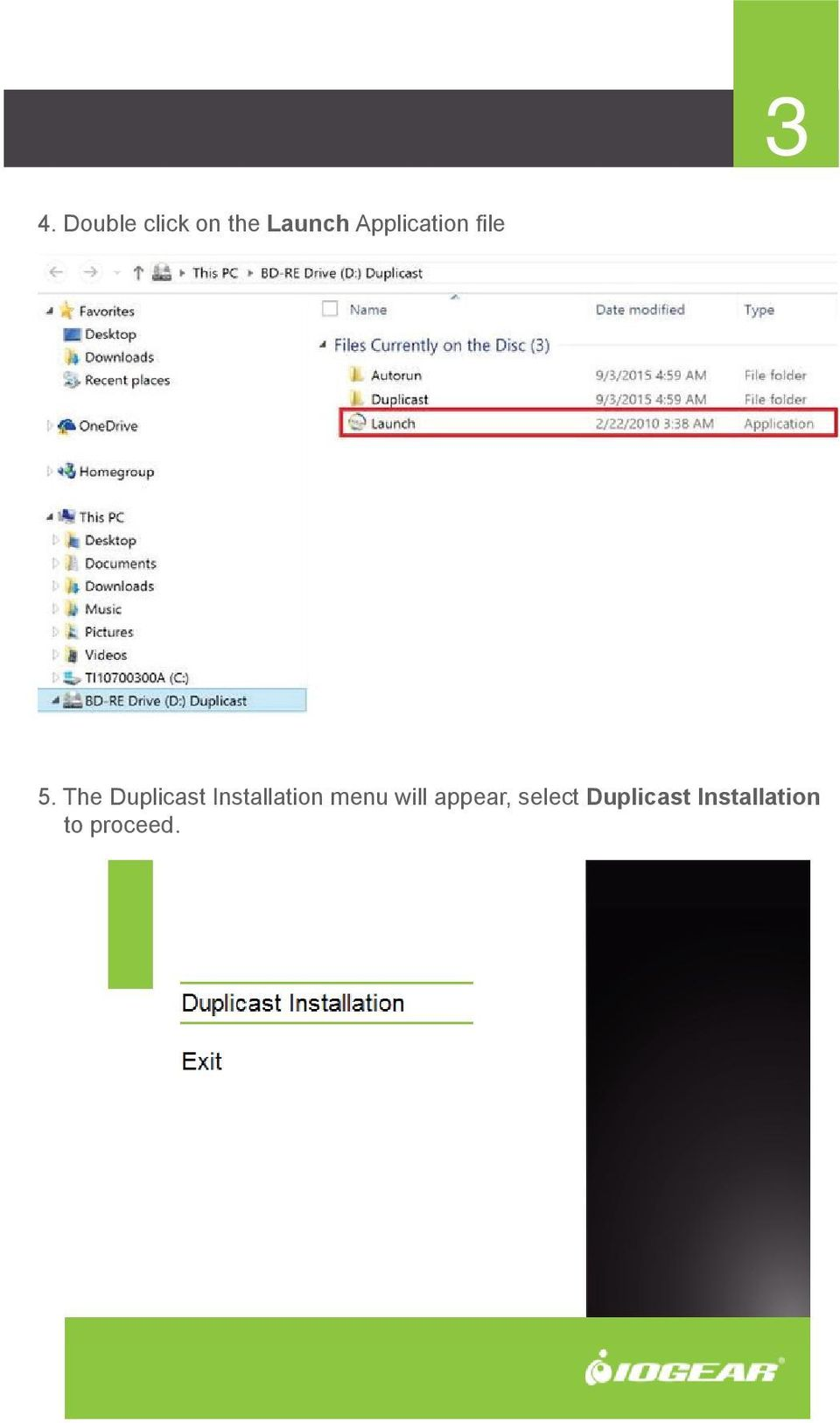The Duplicast Installation menu