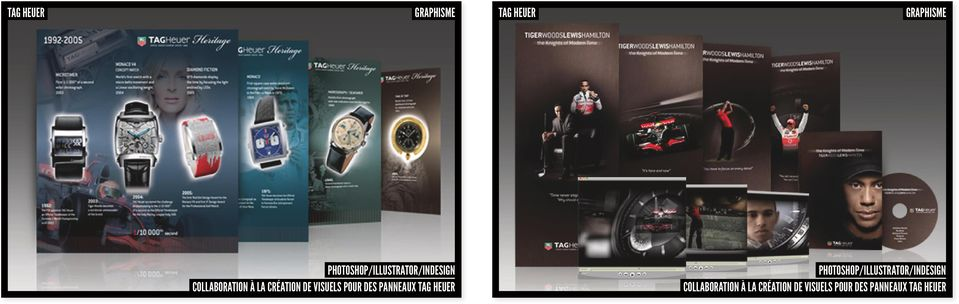 panneaux tag heuer photoshop/illustrator/indesign