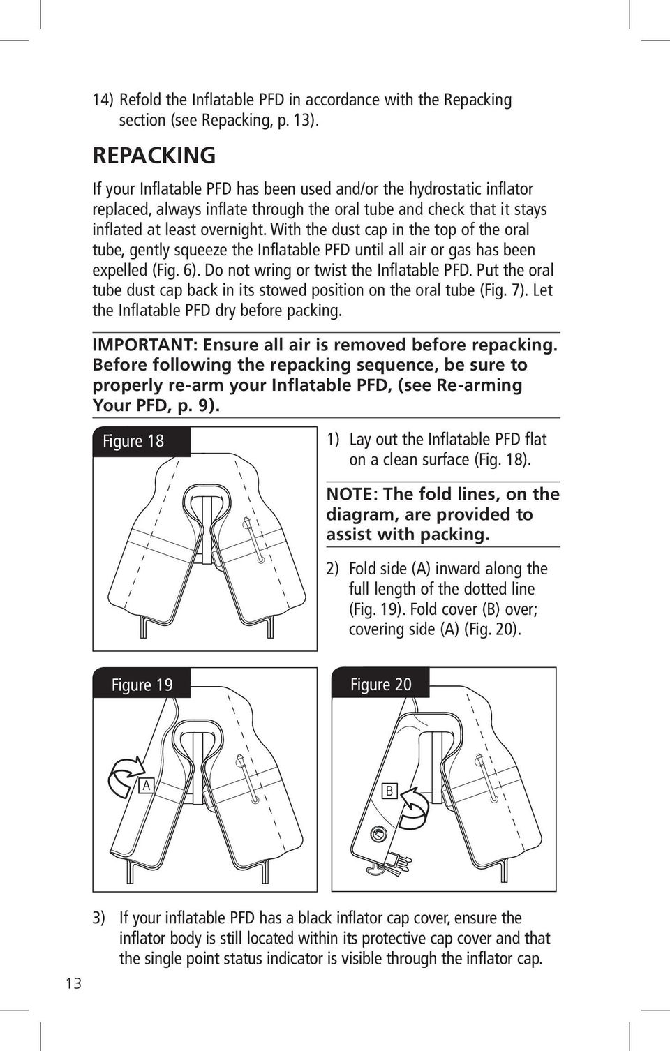 With the dust cap in the top of the oral tube, gently squeeze the Inflatable PFD until all air or gas has been expelled (Fig. 6). Do not wring or twist the Inflatable PFD.