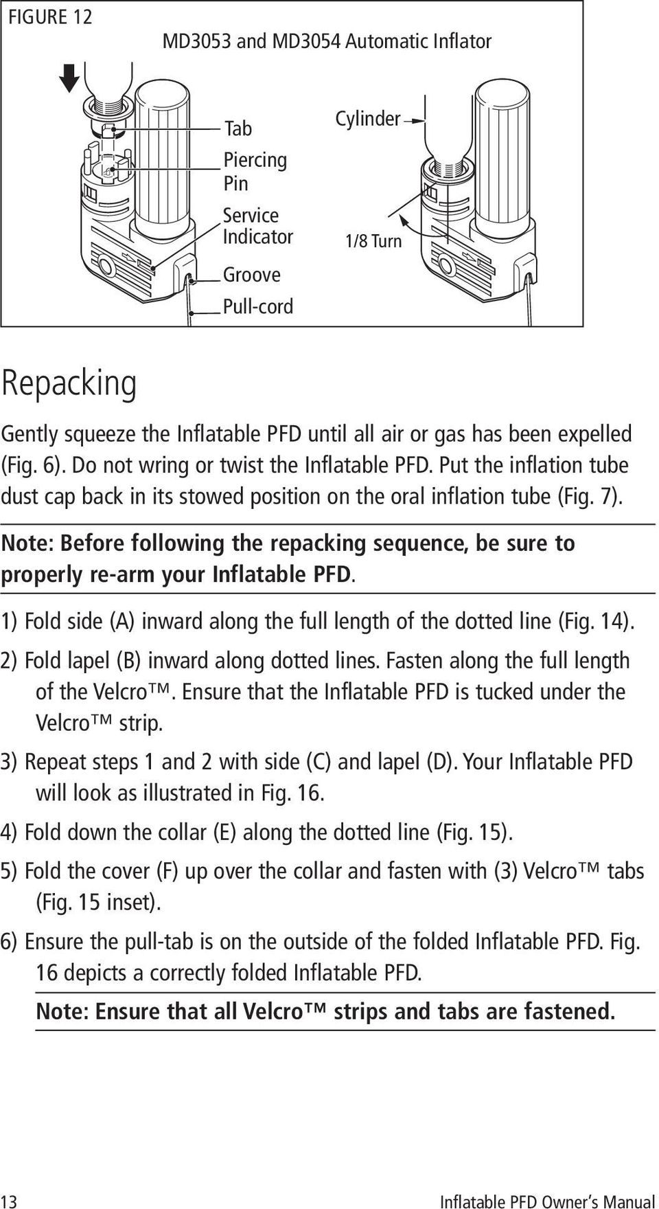 Note: Before following the repacking sequence, be sure to properly re-arm your Inflatable PFD. 1) Fold side (A) inward along the full length of the dotted line (Fig. 14).
