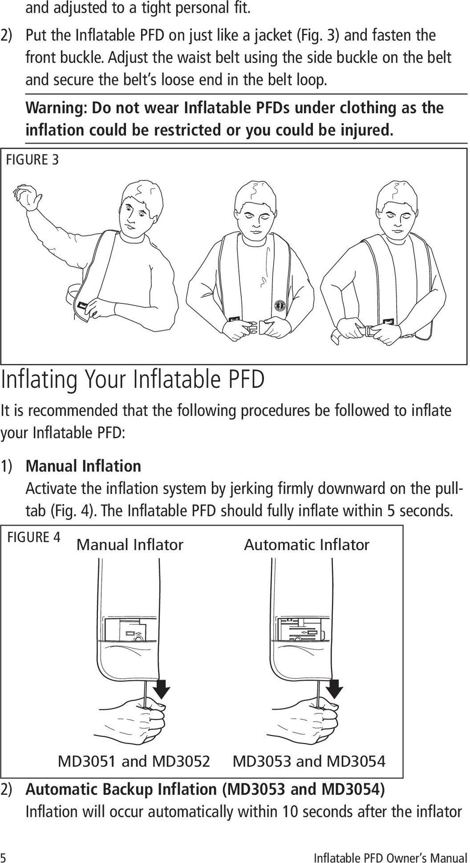 Warning: Do not wear Inflatable PFDs under clothing as the inflation could be restricted or you could be injured.