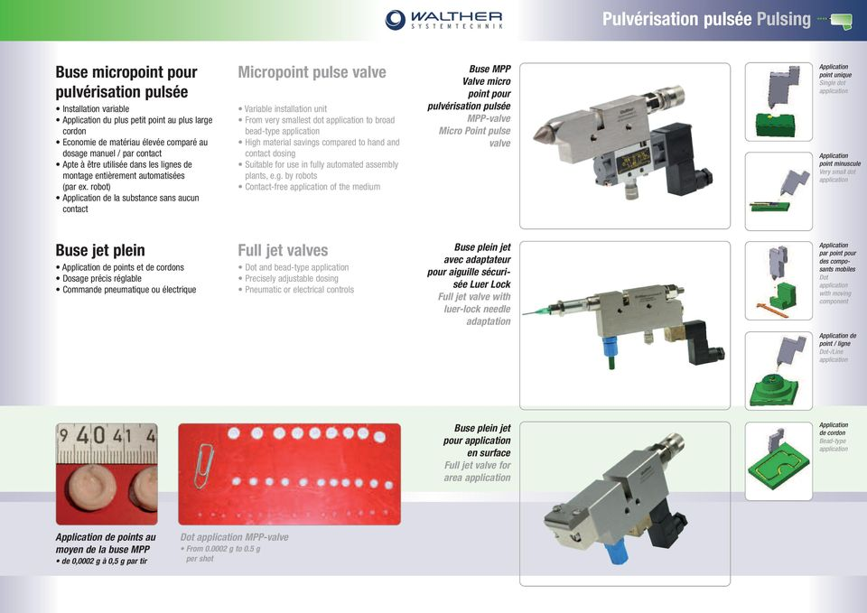 robot) de la substance sans aucun contact Micropoint pulse valve Variable installation unit From very smallest dot to broad bead-type High material savings compared to hand and contact dosing