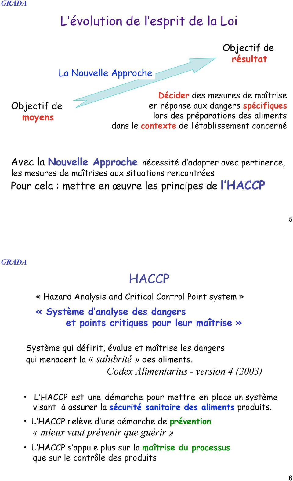 principes de l HACCP 5 HACCP «!Hazard Analysis and Critical Control Point system!» «!Système d analyse des dangers et points critiques pour leur maîtrise!