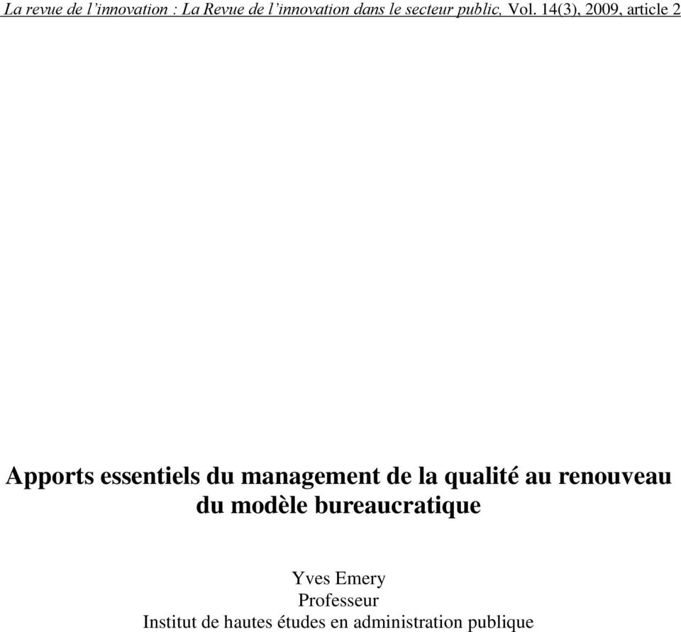 bureaucratique Yves Emery Professeur