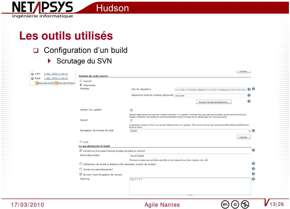un build Scrutage du SVN