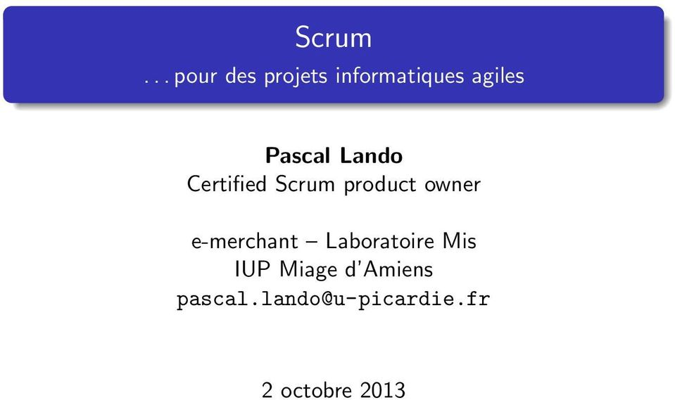 Pascal Lando Certified Scrum product owner
