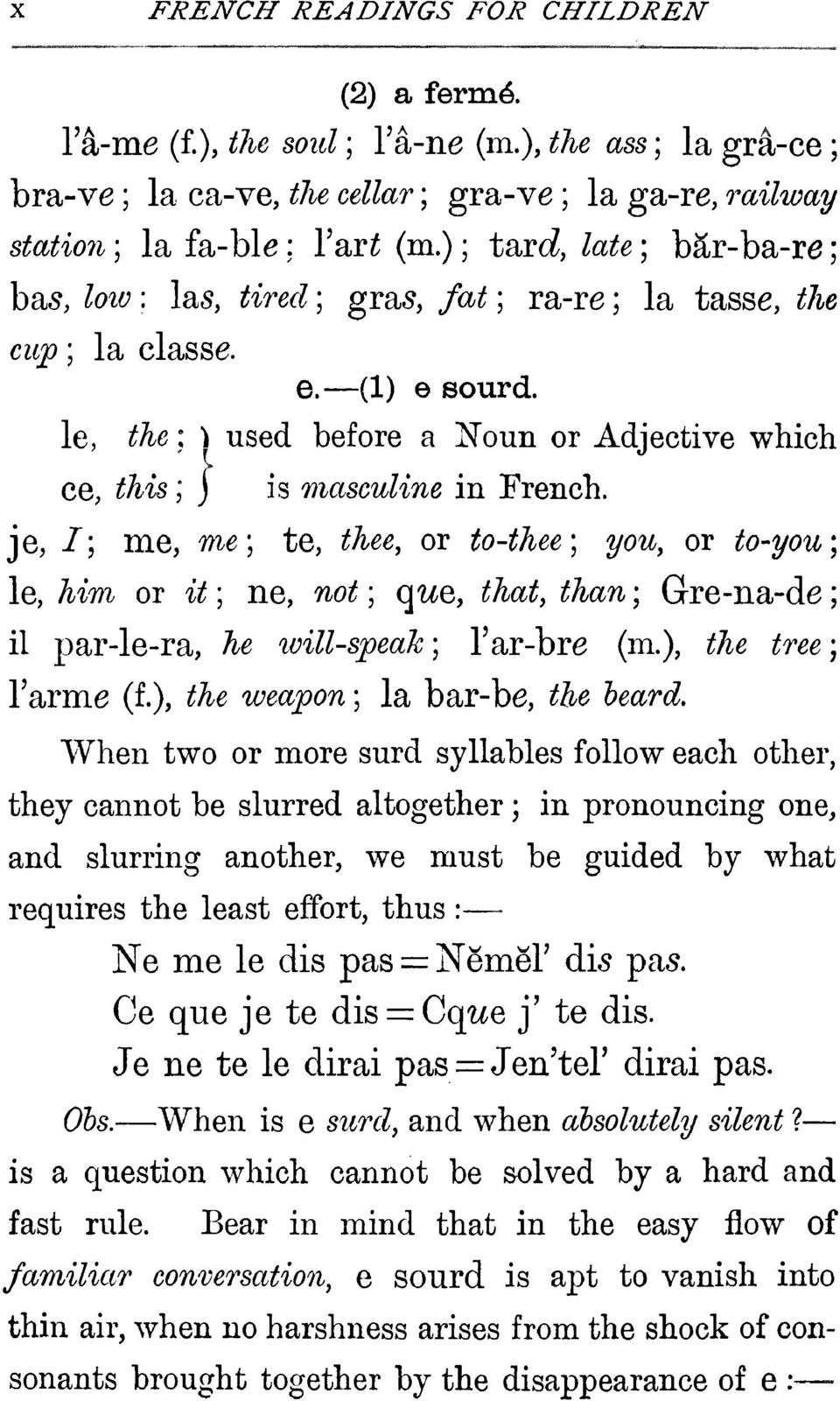 le, the : } used before a Noun or Adjectivewhich ce, #A-is ; j is masculine in French, je,/; me, me; te, te, or to-thee; you, or to-you\ le,^im or ^ ; ne, ^o^ ; que, that, than ; Gre-na-de ; il