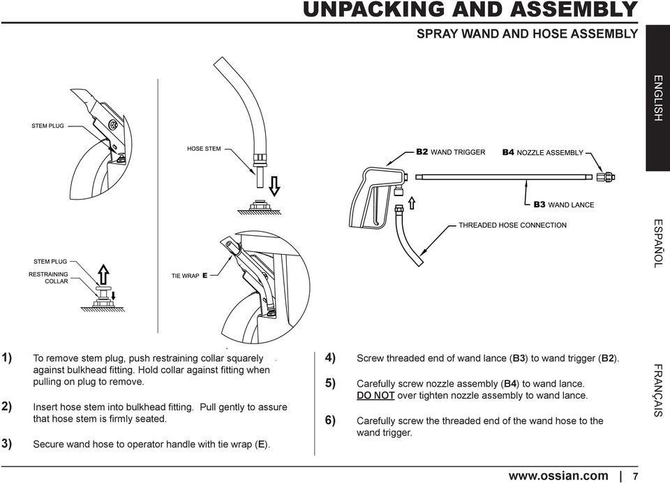 3) Secure wand hose to operator handle with tie wrap (E). 4) Screw threaded end of wand lance (B3) to wand trigger (B2).