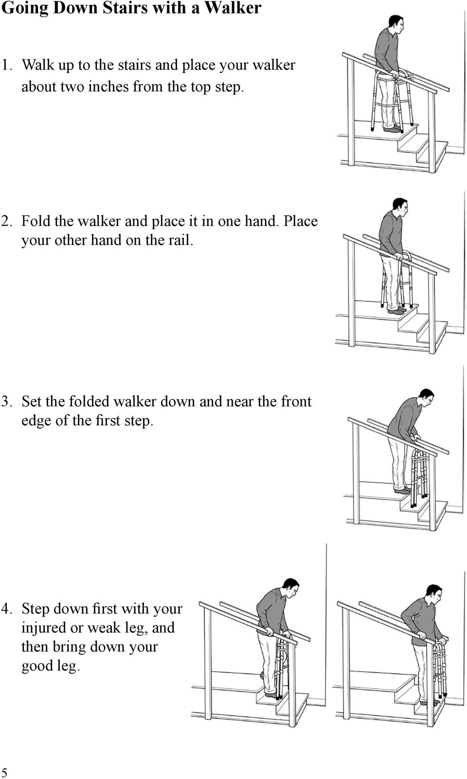 Fold the walker and place it in one hand. Place your other hand on the rail. 3.