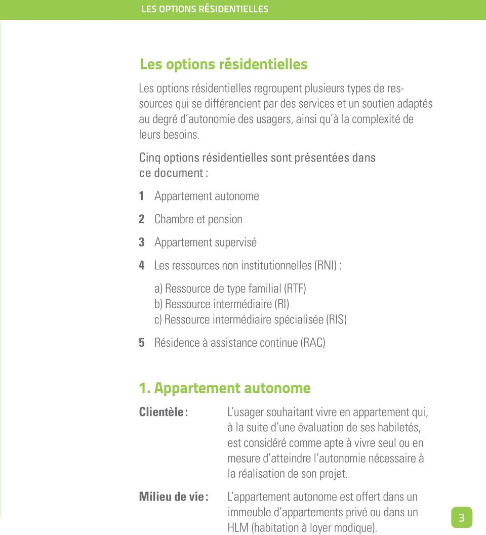 Cinq options résidentielles sont présentées dans ce document : 1 Appartement autonome 2 Chambre et pension 3 Appartement supervisé 4 Les ressources non institutionnelles (RNI) : a) Ressource de type